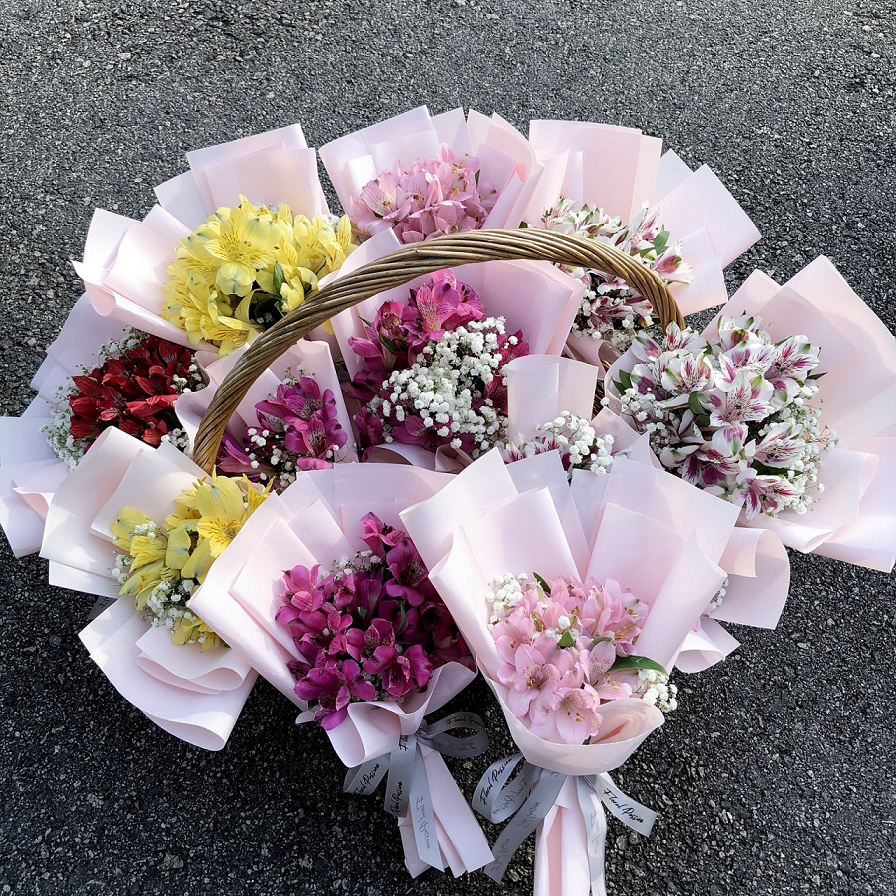 Valentine's Day bouquets under - baby's breath