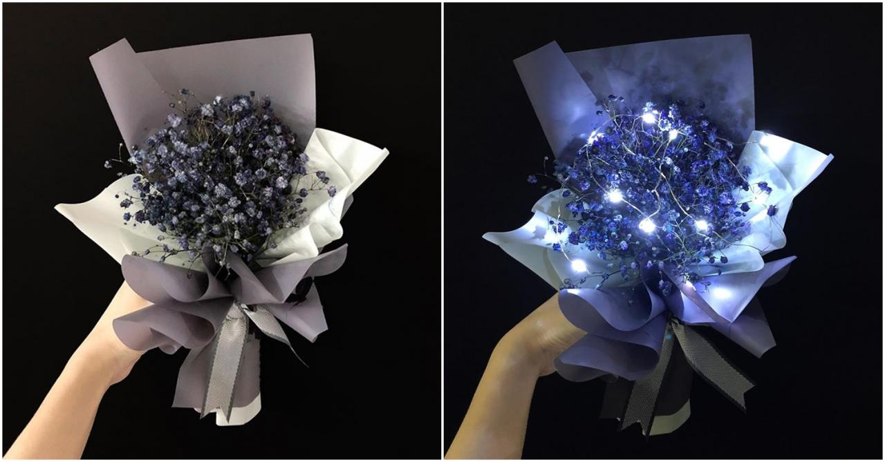 Valentine's Day bouquets under - baby's breath with fairy lights