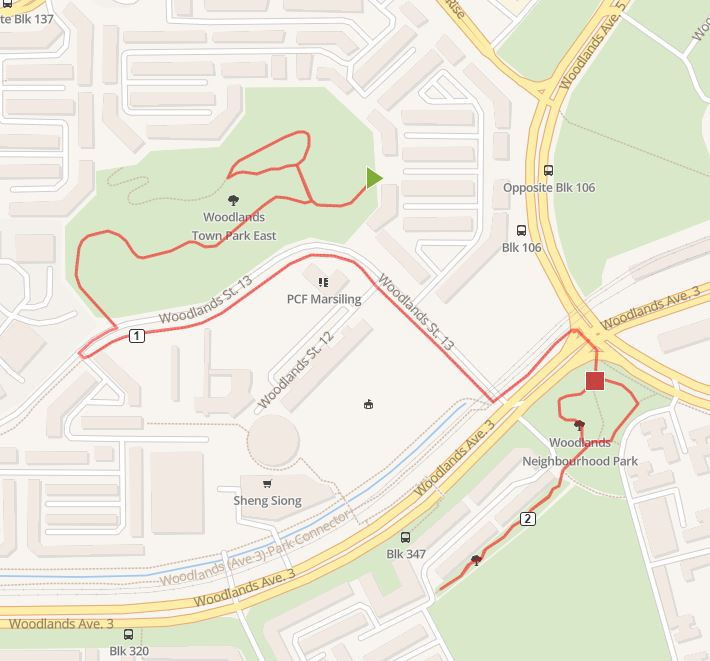woodlands town park east neighbourhood park running route map