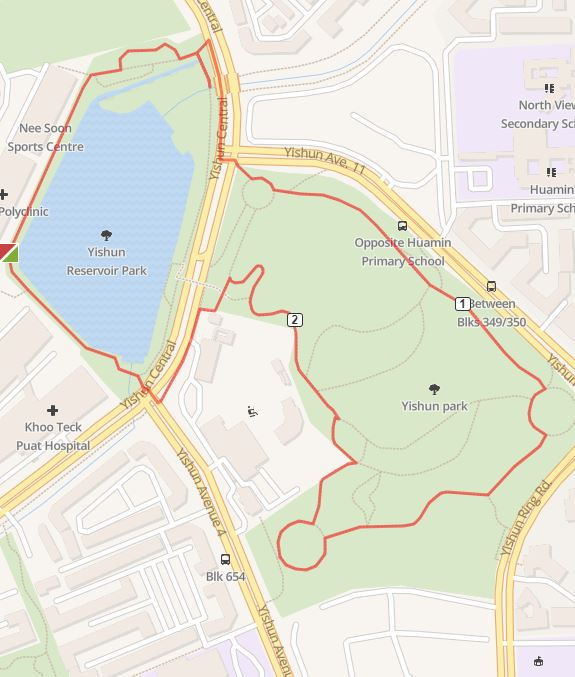 yishun reservoir park run running route map