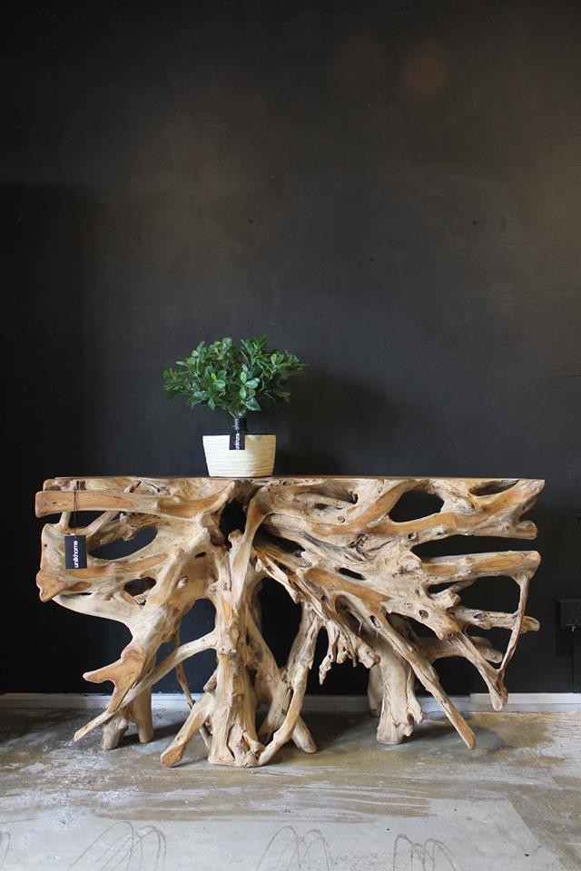 unikhome teak root console table