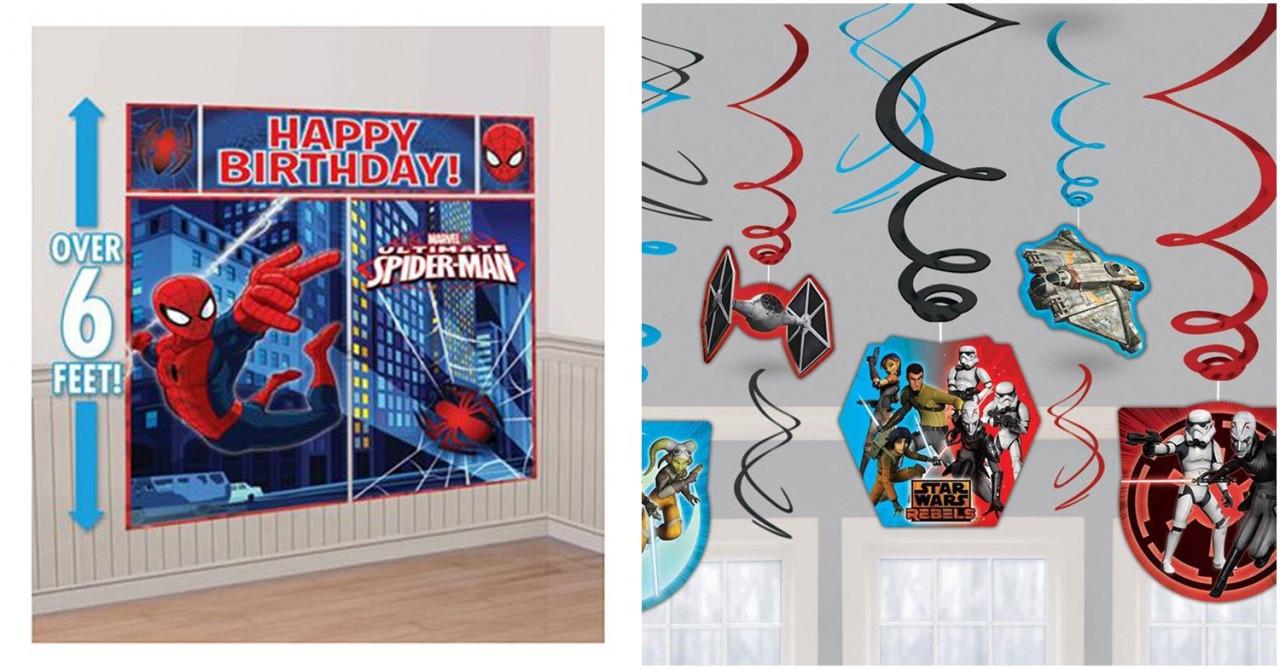 spiderman banner birthday decorations