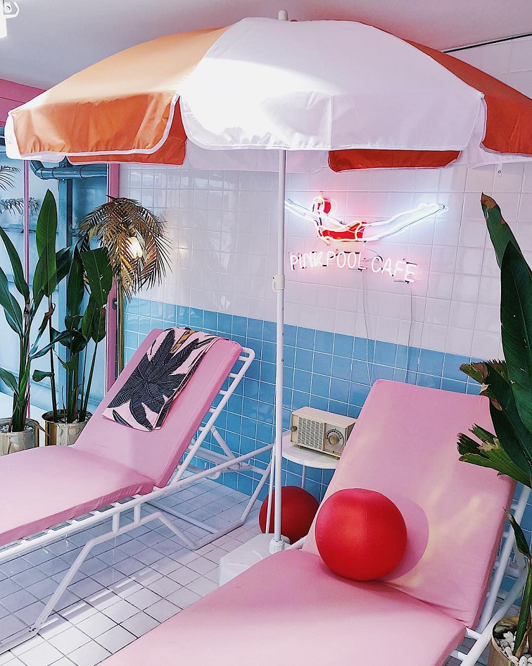 stylenanda pink hotel bangkok thailand korea pink shop themed 3ce makeup pink pool cafe