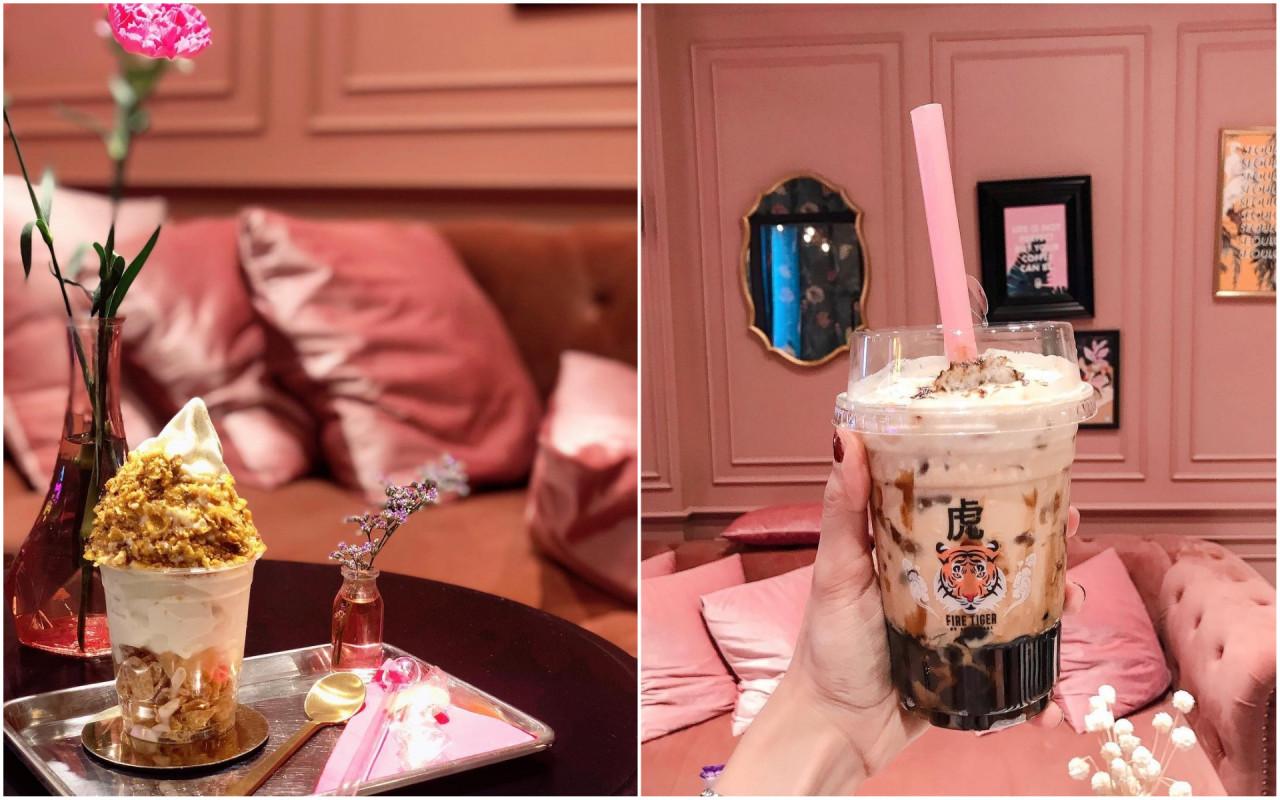 seoulcial club pink cafe themed restaurant shop bangkok tiger bubble tea soft serve golden white truffle