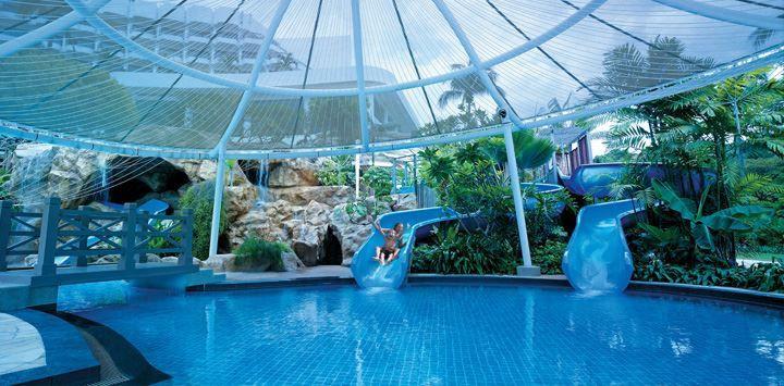 shangri la sentosa resort and space swimming pool kids shelter slide
