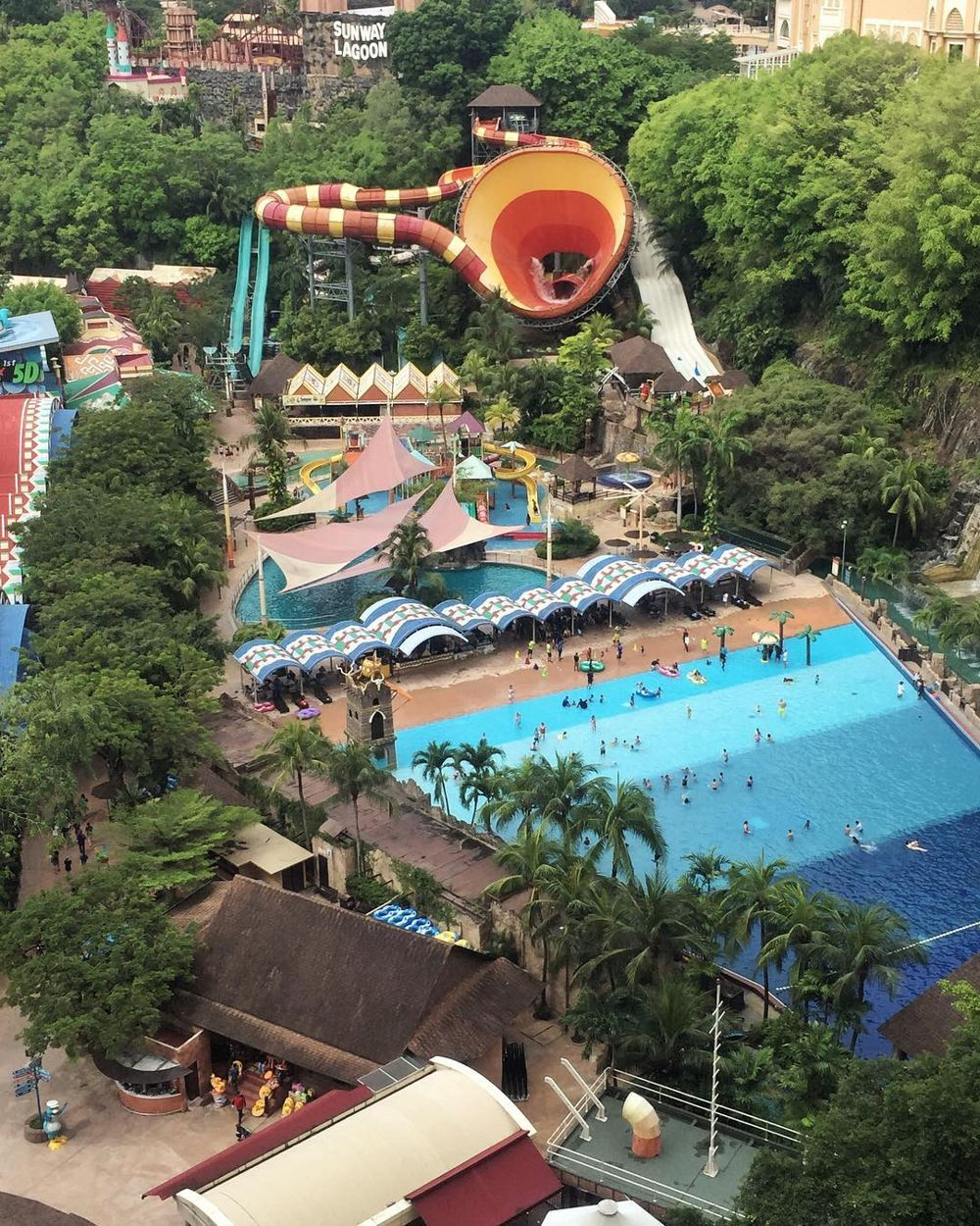 Aerial view of Sunway Lagoon water park