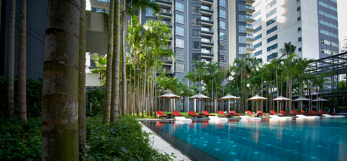 Swimming pool area at E&O Residences KL
