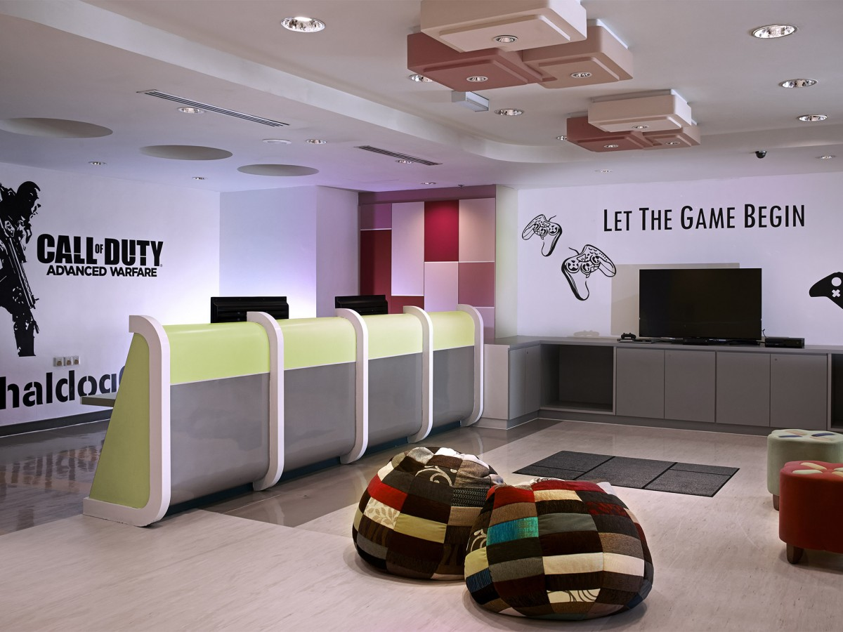 The Zone at Pullman KL with beanbags and gaming consoles