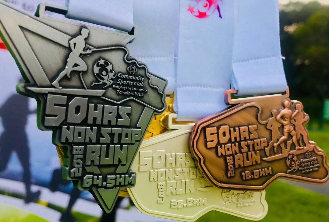 Medals from the 50 hours non-stop run