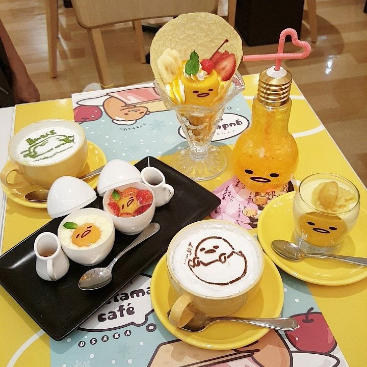Gudetama's food are themed in the form of the character's lethargic face