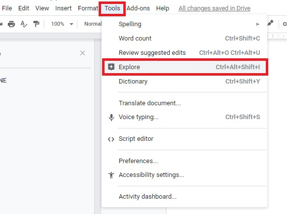 How to open browser in Google Docs