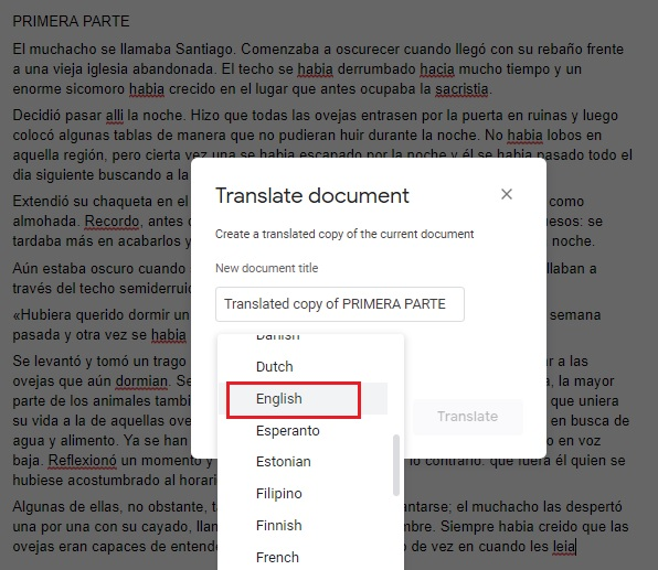How to translate in Google Docs