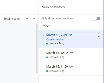 Find an older version of work in Google Docs