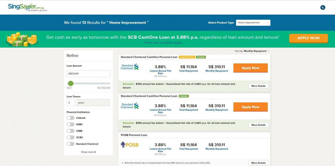 singsaver best loan rates