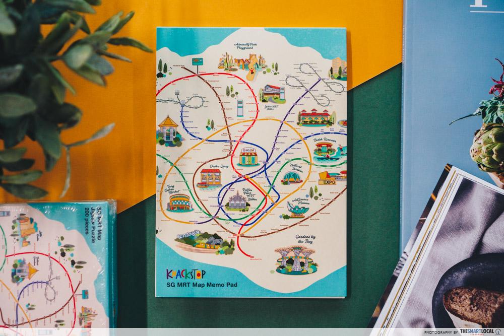 Knackstop bus and MRT merchandise - MRT map memo pad