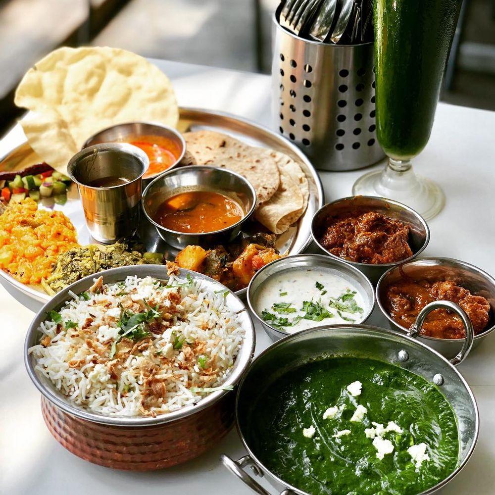 Thali, rice and palak at The Ganga Cafe