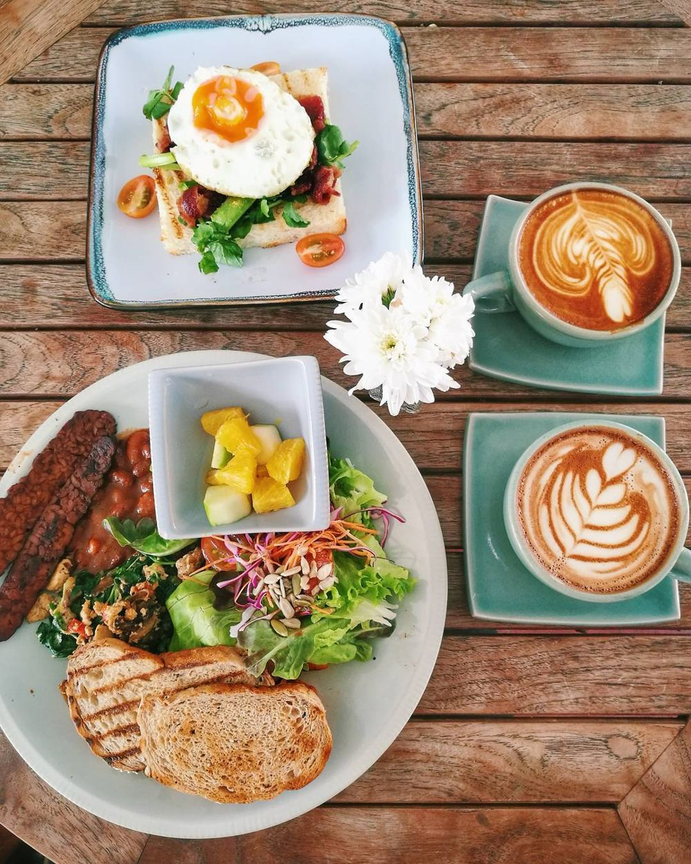 Toast with egg and Vegan big breakfast at RGB Cafe