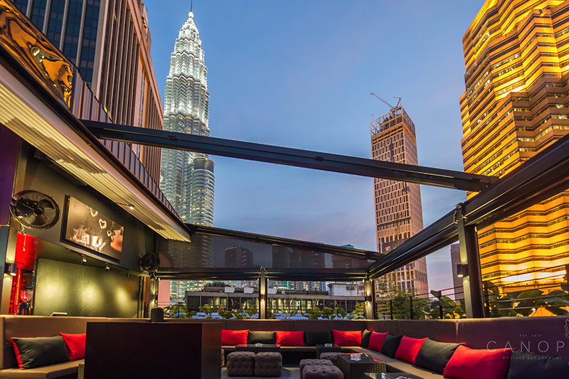 best rooftop bars in Kuala lumpur kl cheap drinks city views canopy lounge shisha