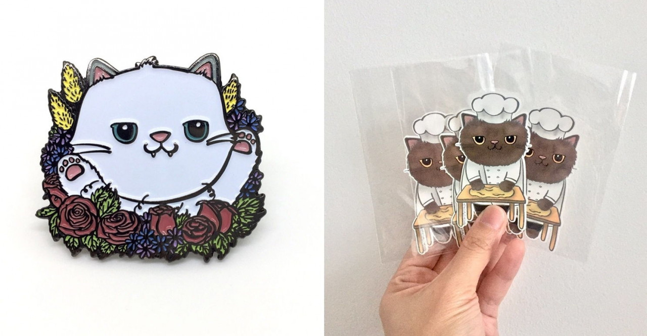 Cat pins and stickers Fluffette