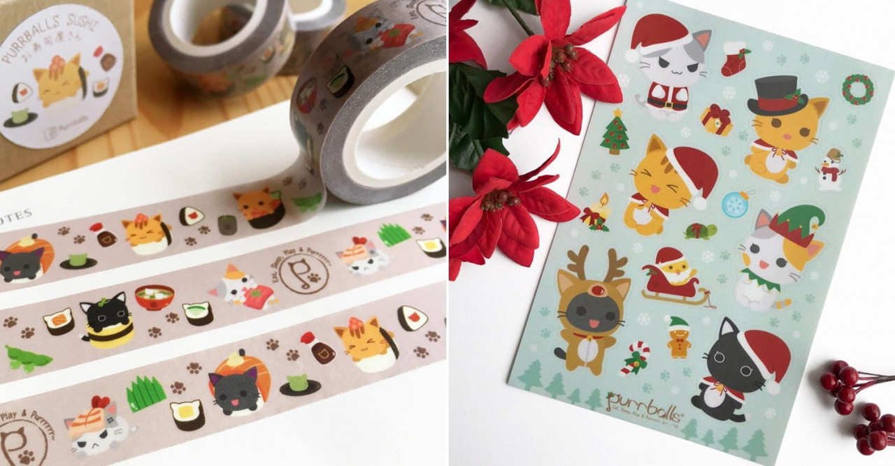 Purrballs washi tape stickers