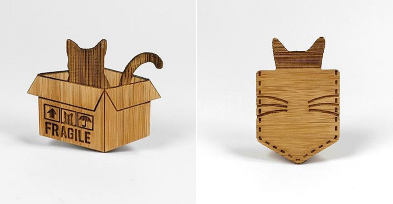 Wooden cat brooches Alfie De Meow