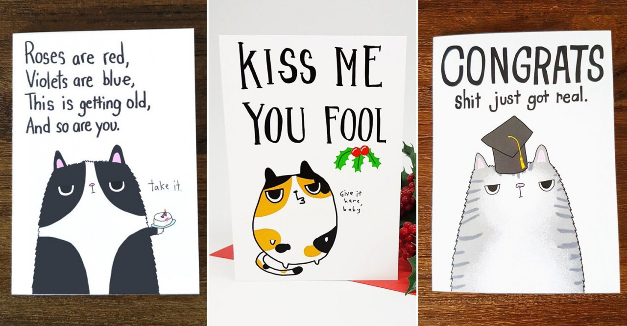 Cat themed birthday cards
