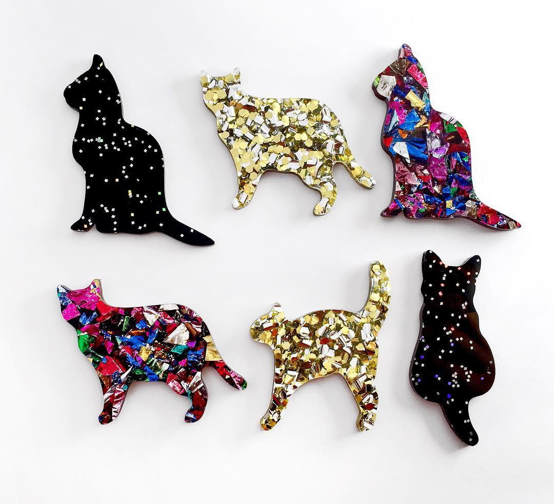 Cat brooches Alfie de Meow