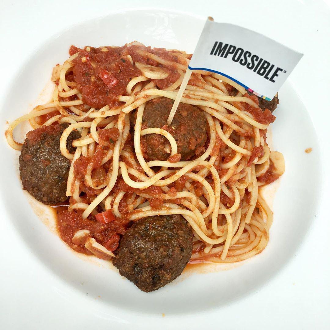 Spaghetti with Impossible meatballs