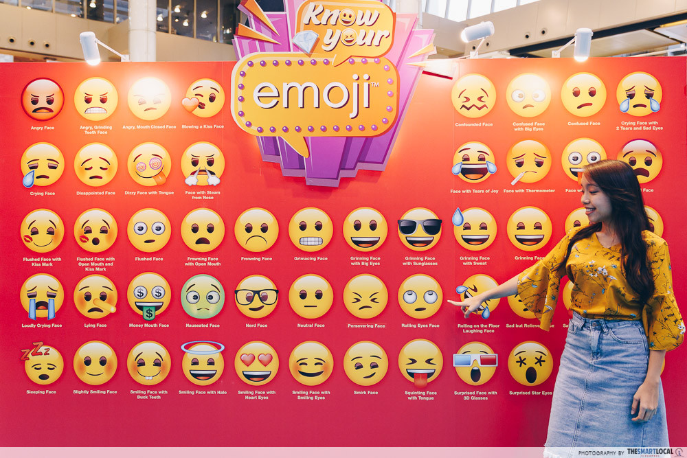 marina square emoji themed photo station pop up event emoji board