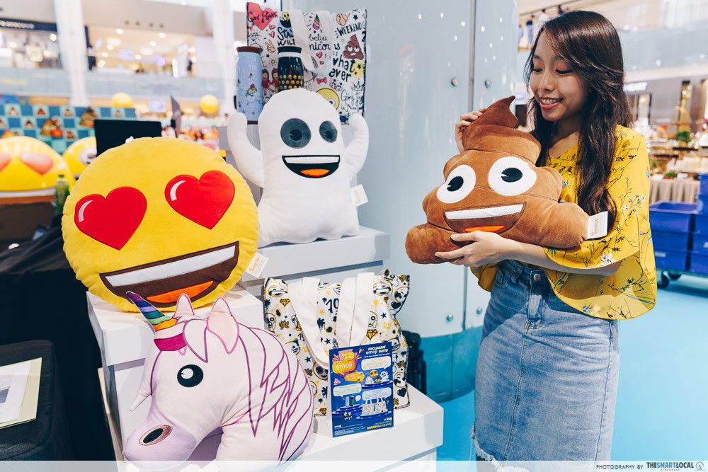 marina square emoji themed photo station pop up event emoji cushion