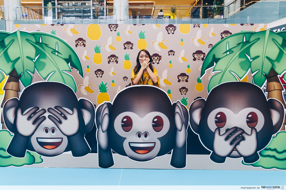 marina square emoji themed photo station pop up event monkey station