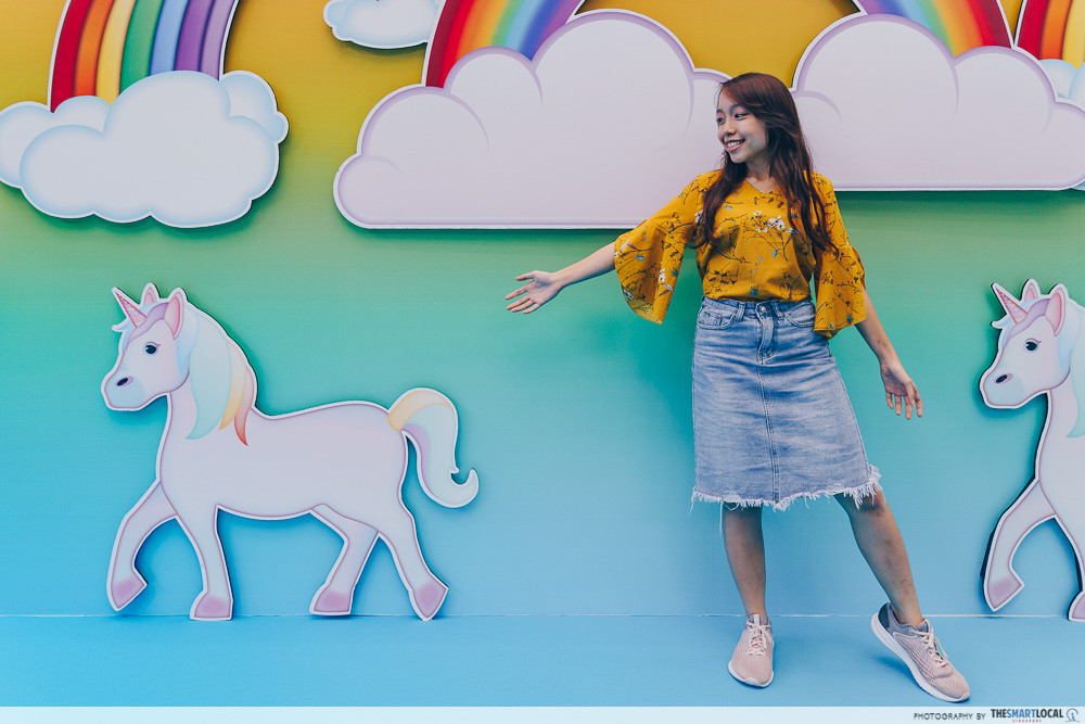marina square emoji themed photo station pop up event unicorn station