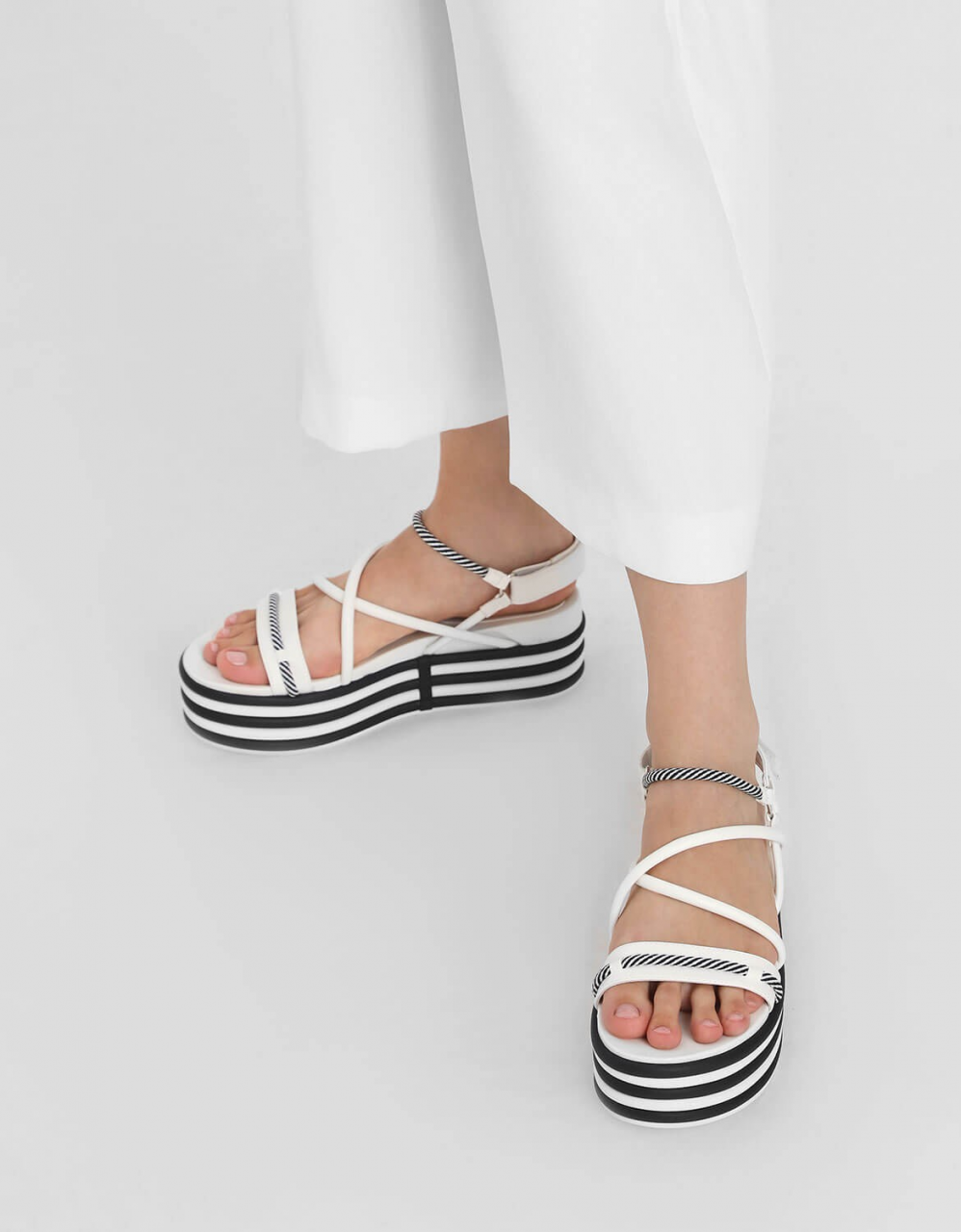 two tone strappy flatforms