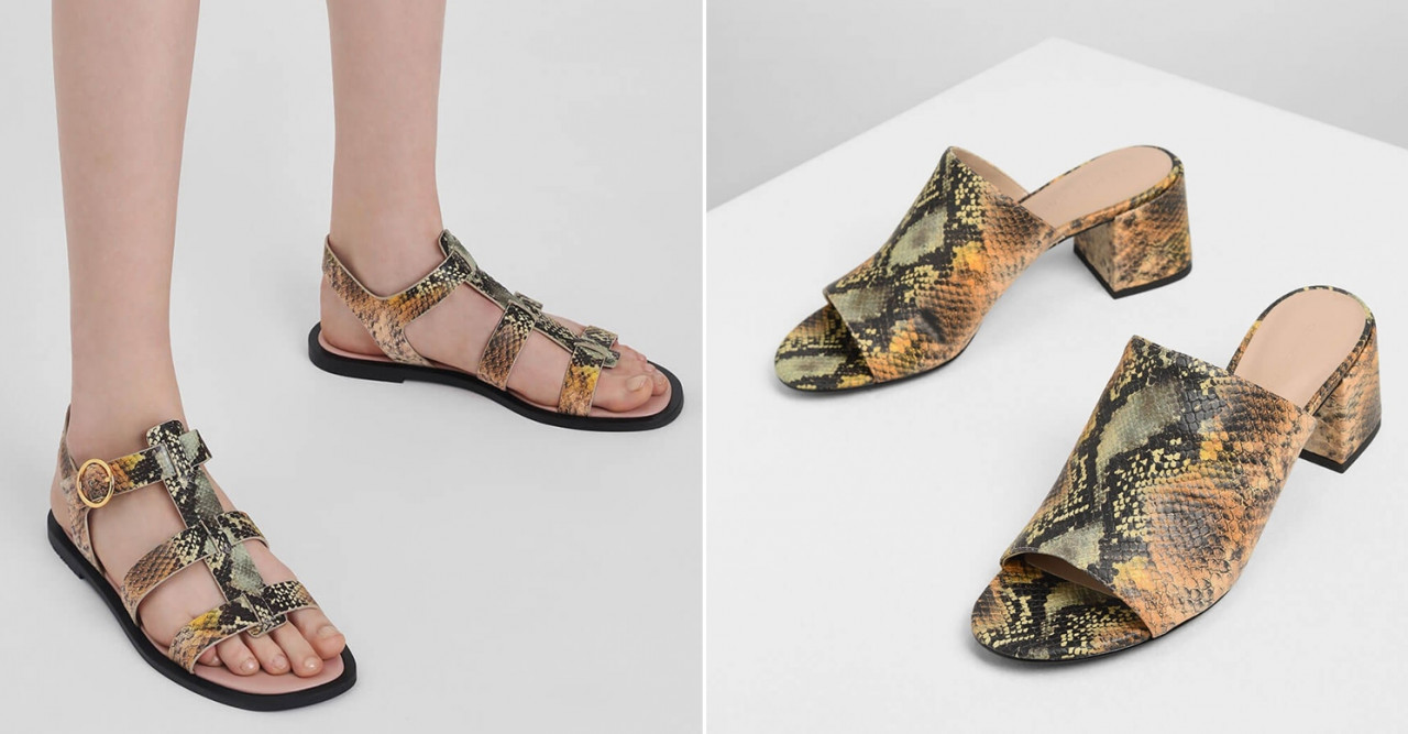strappy snake skin sandals