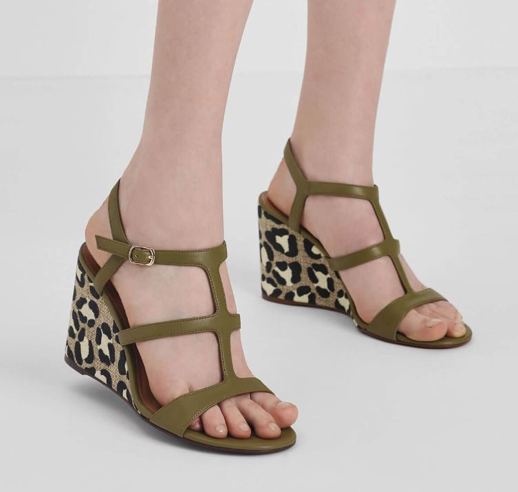 olive strappy wedges