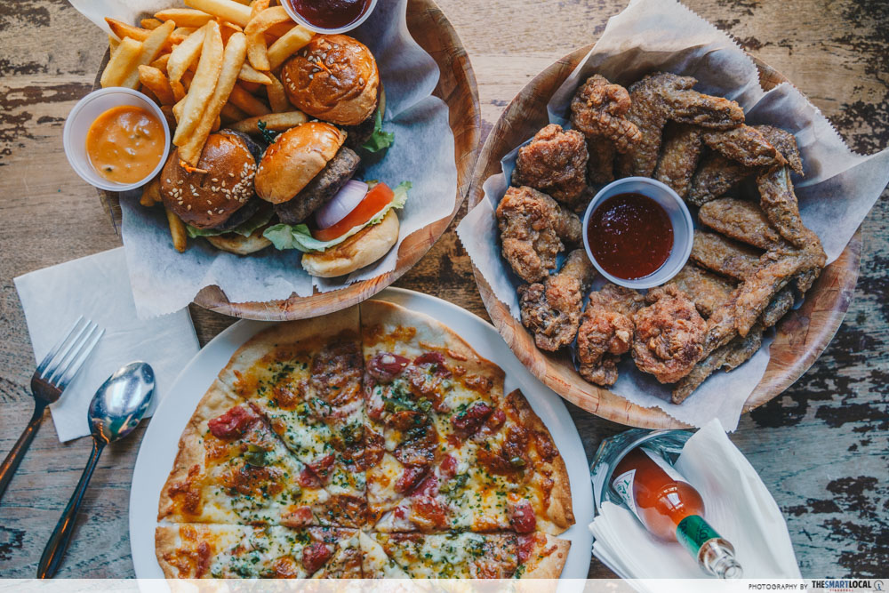 Mini burgers, chicken wings and pizza at No.5 Emerald Hill