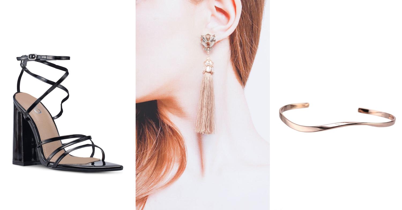 Strappy heel, tassel earring and rose gold bracelet