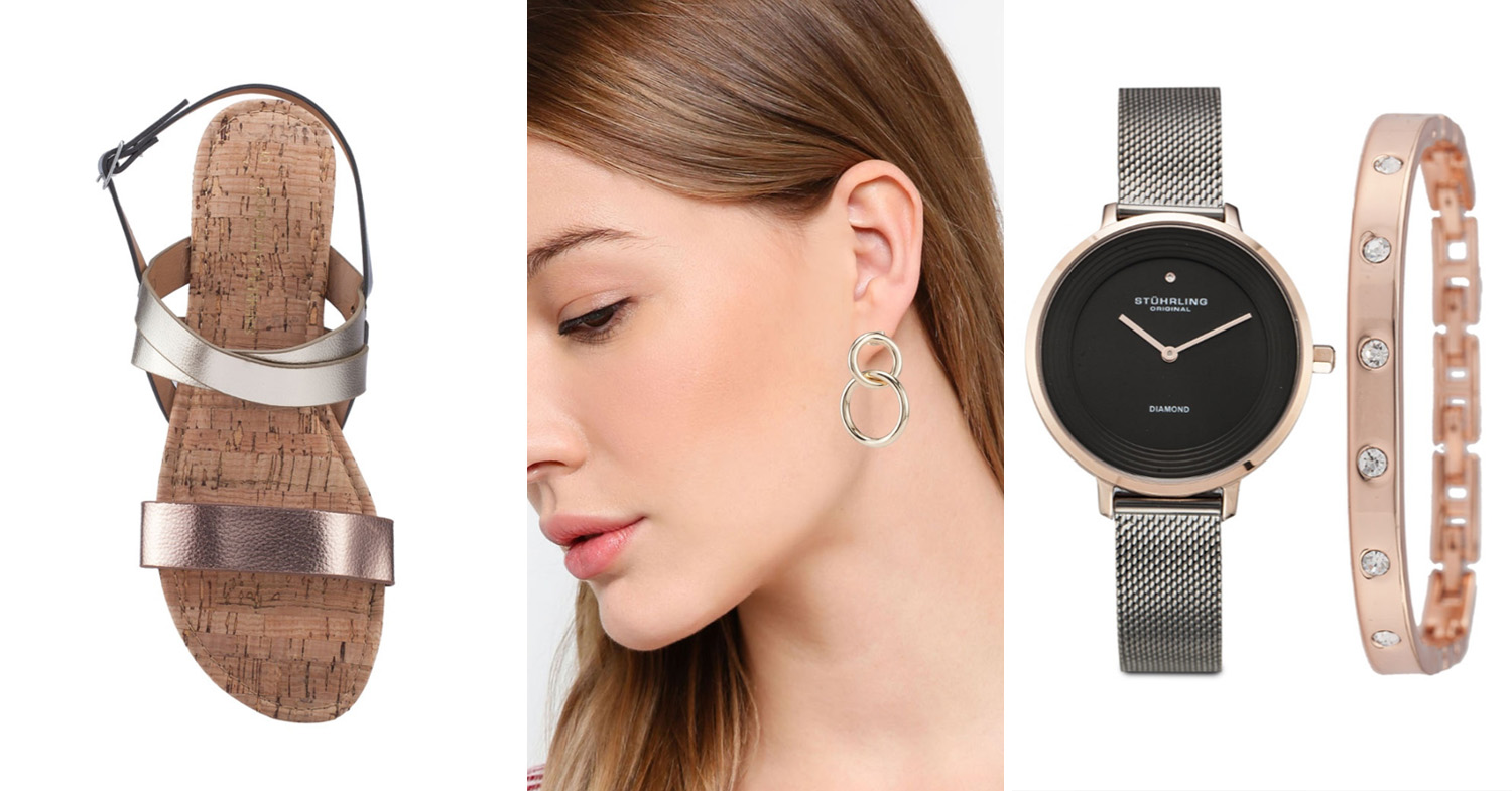 Sandals, earrings and watch from ZALORA