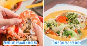 big prawn noodles and crab bee hoon
