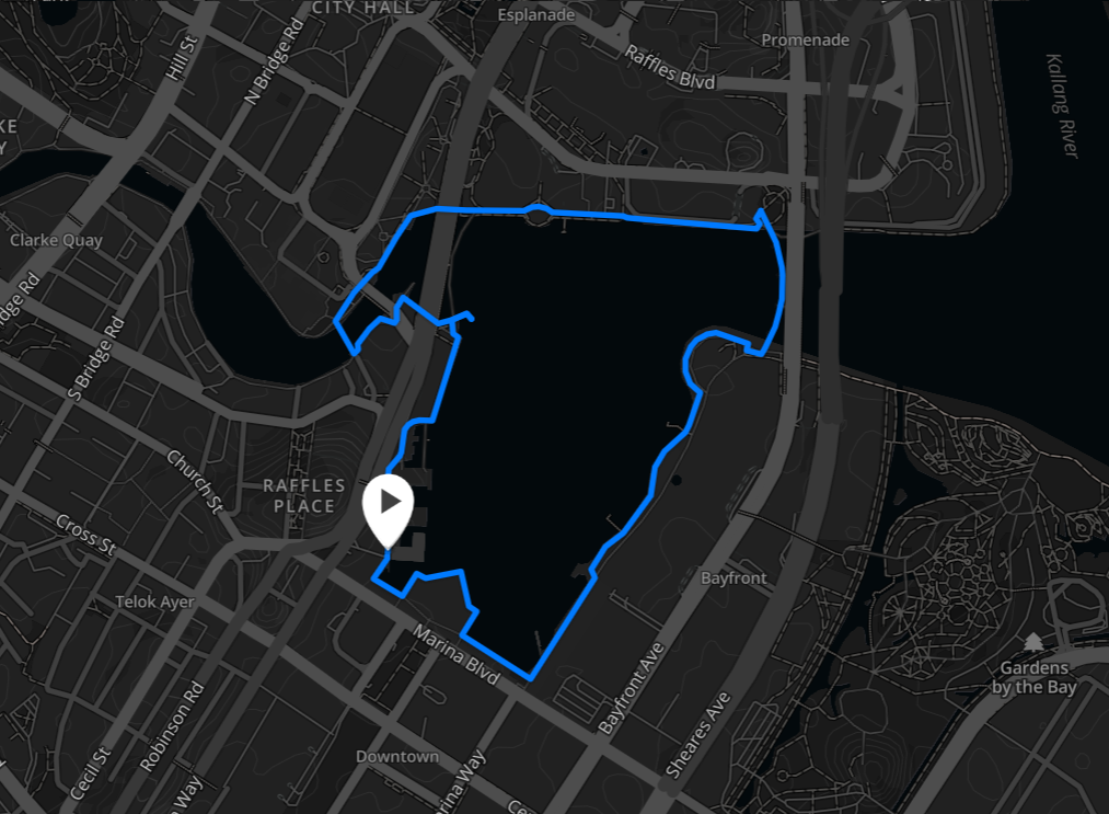Running routes in the CBD - marina bay route