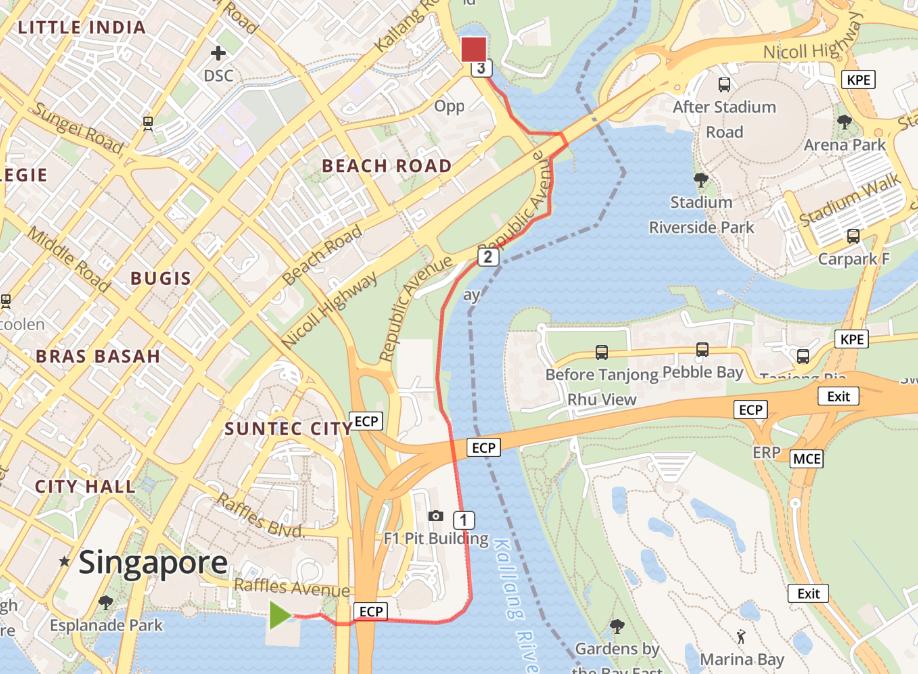 Running routes in the CBD - marina promenade route