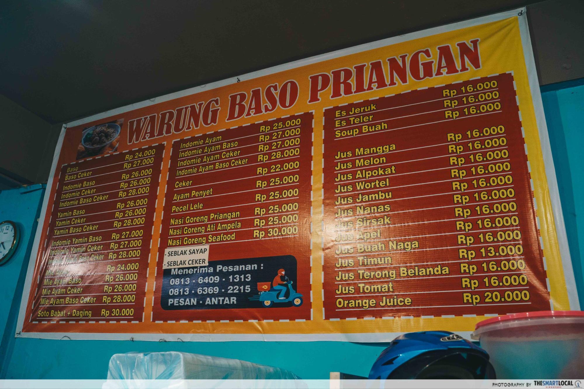 Baso Priangan Batam menu