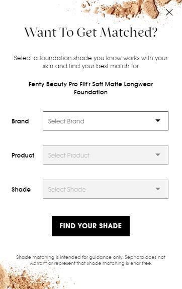 Fenty Beauty shade matcher