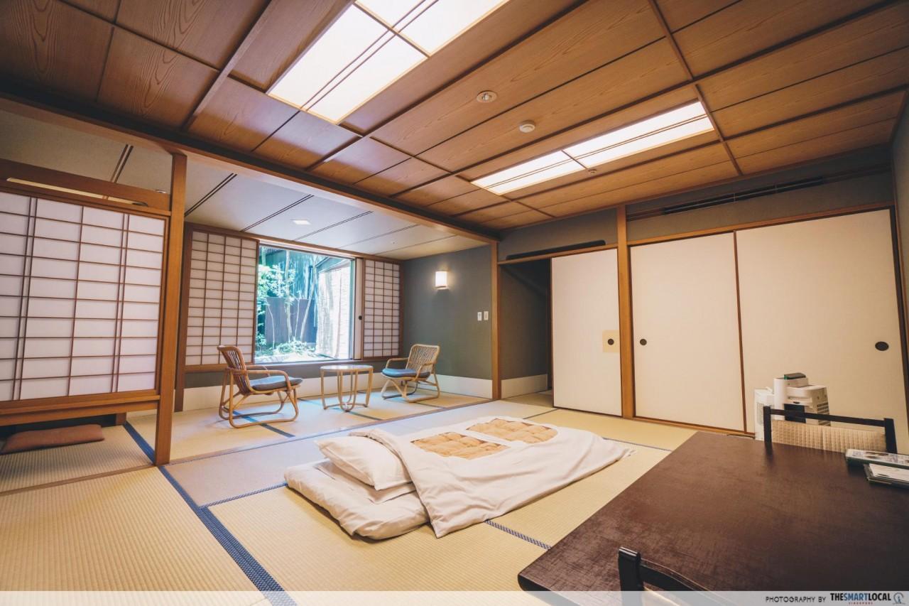Nishimuraya Hotel Shogetsutei Kinosaki Japanese style room futon bed