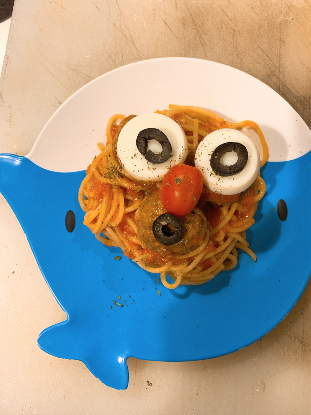 Spaghettin Pomodoro with Meatball for kids