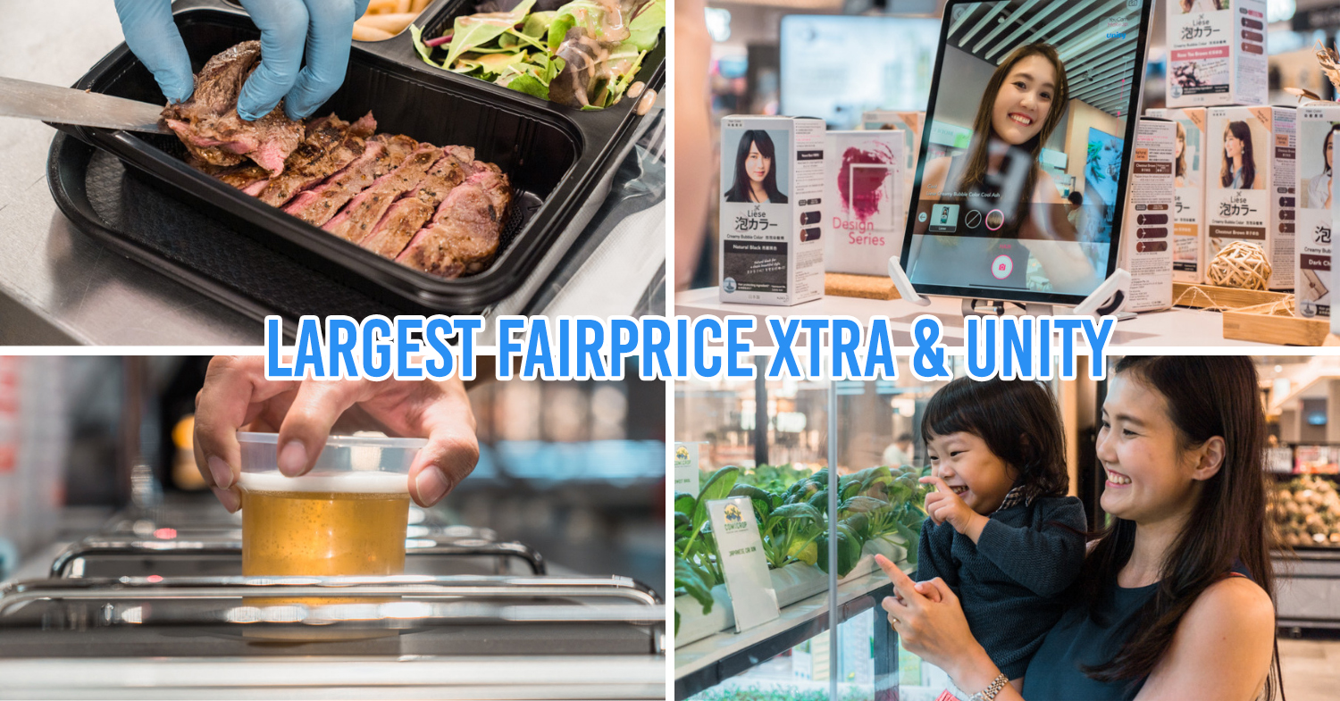 FairPrice Xtra and Unity VivoCity - collage of grilled meat, reverse beer tap, hydroponics farm, youcam virtual tool