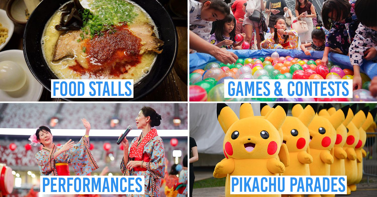 Japan Summer Festival 2019 - collage of ramen, balloon fishing, bon-odori dance, pikachu parade