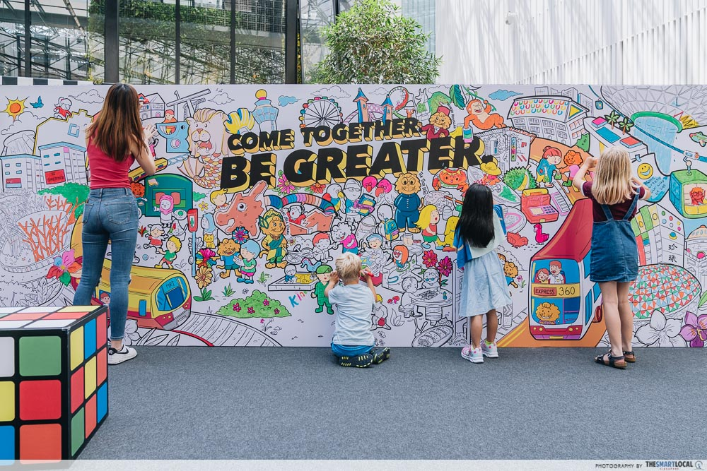 Singa Lion Pop Up InstaKindness Singapore Kindness Movement Raffles City Colouring Wall Mural