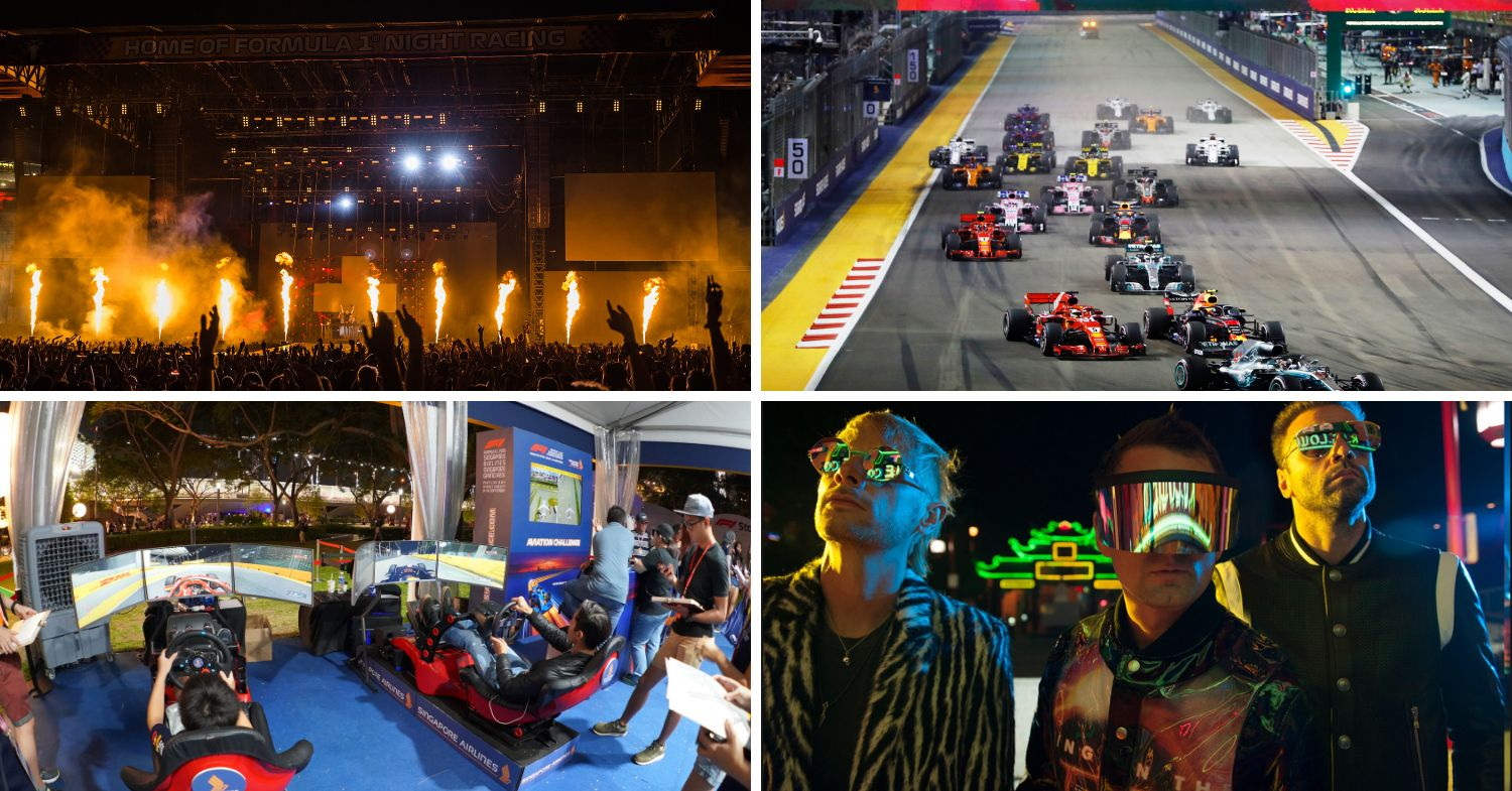 Singapore Grand Prix 2019 - collage of concert, race track, race simulators