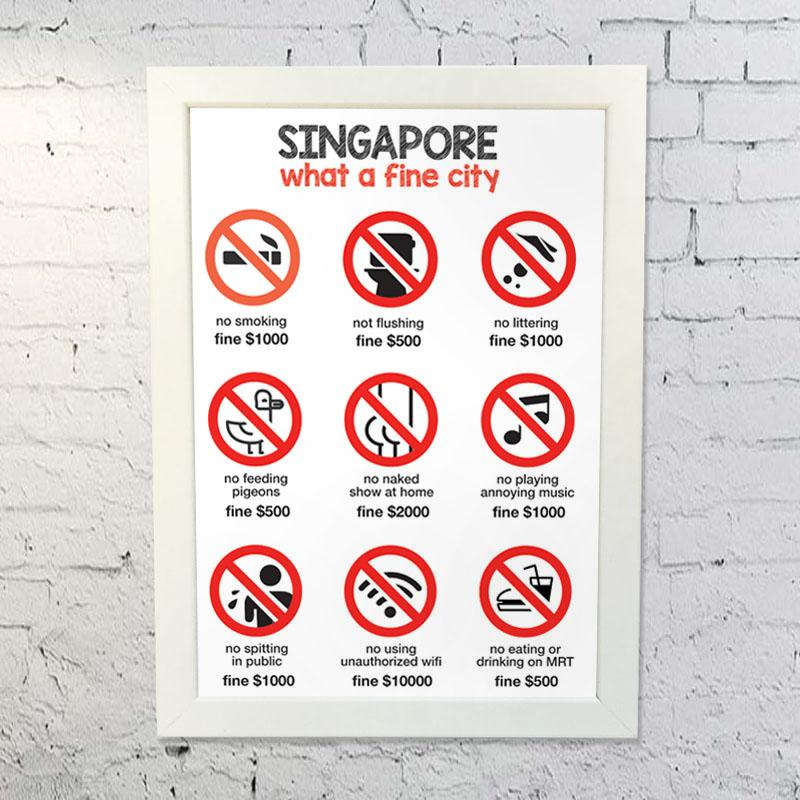 backpacking in singapore - poster of singapore fines
